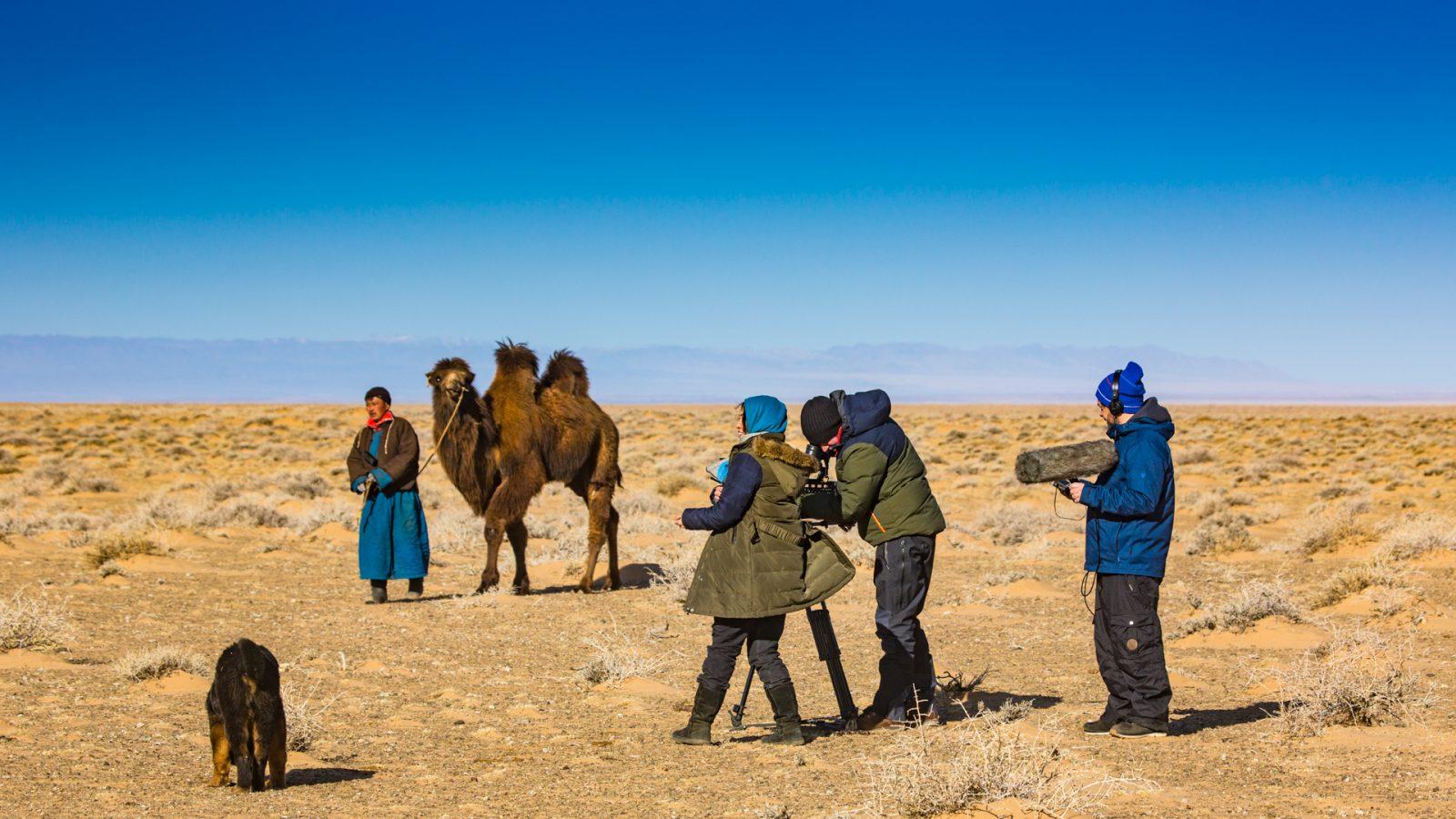 Dreharbeit in der Wüste-Gobi